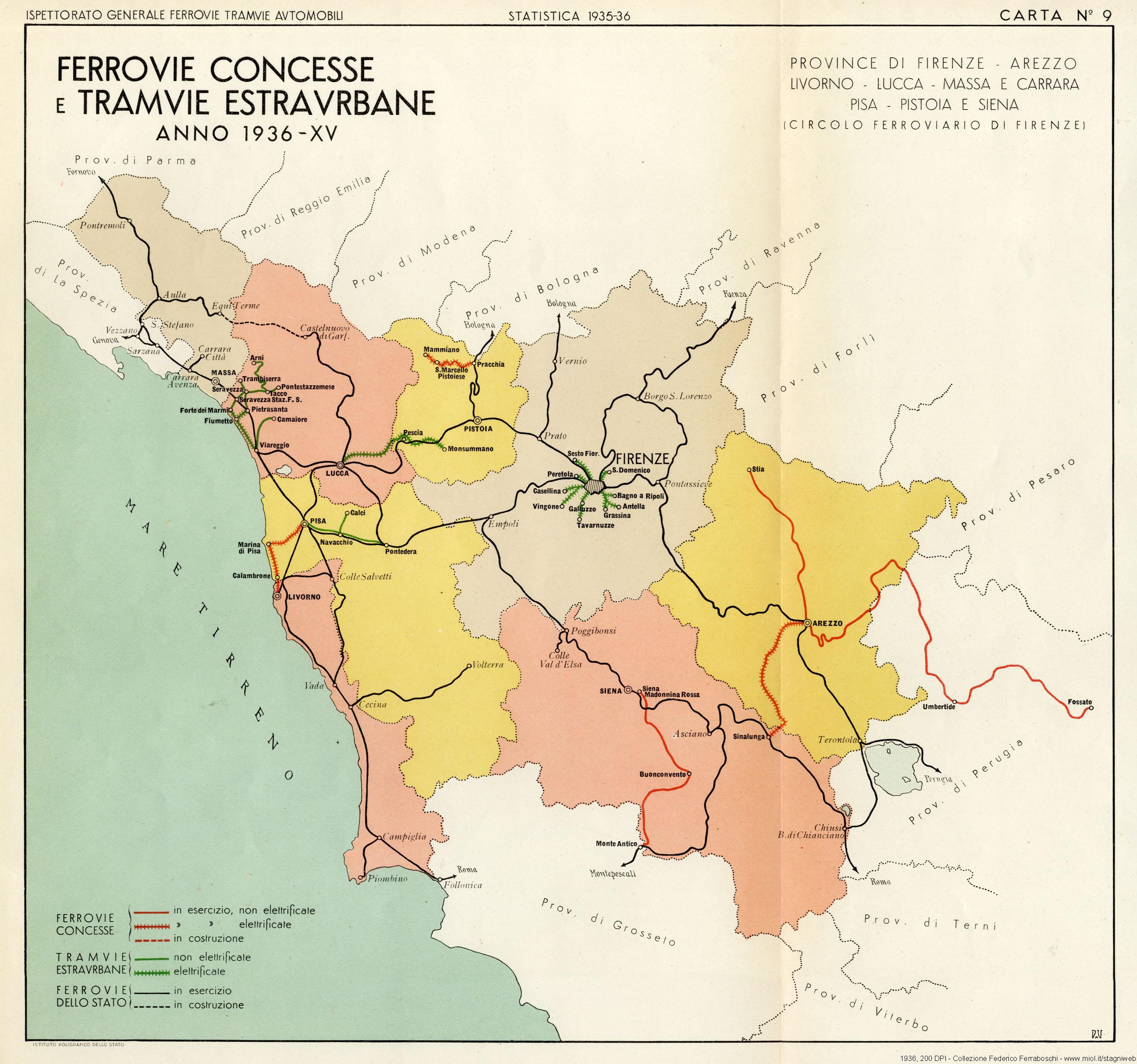 Cartina Ferroviaria Sicilia.Ferrovie Concesse E Tramvie Estraurbane 1936 9 Stagniweb