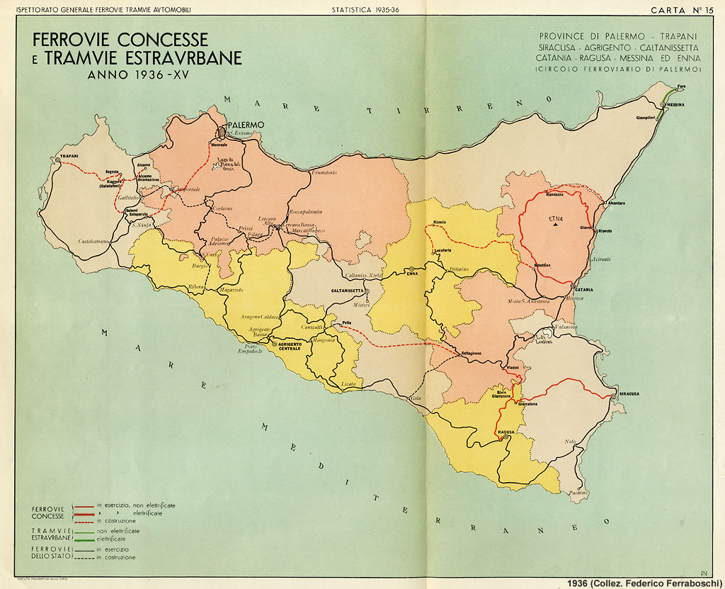 Cartina Ferroviaria Sicilia.Ferrovie Concesse E Tramvie Estraurbane 1936 Stagniweb
