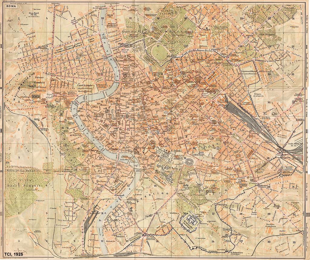 Cartina Roma Nord.Mappe Storiche Di Roma Guida Rossa Tci 1925 Prima Edizione Stagniweb