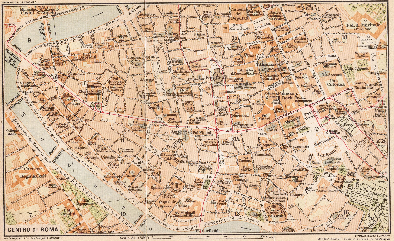 Roma Cartina Centro Storico.Mappe Storiche Di Roma Guida Rossa Tci 1925 Prima Edizione Stagniweb
