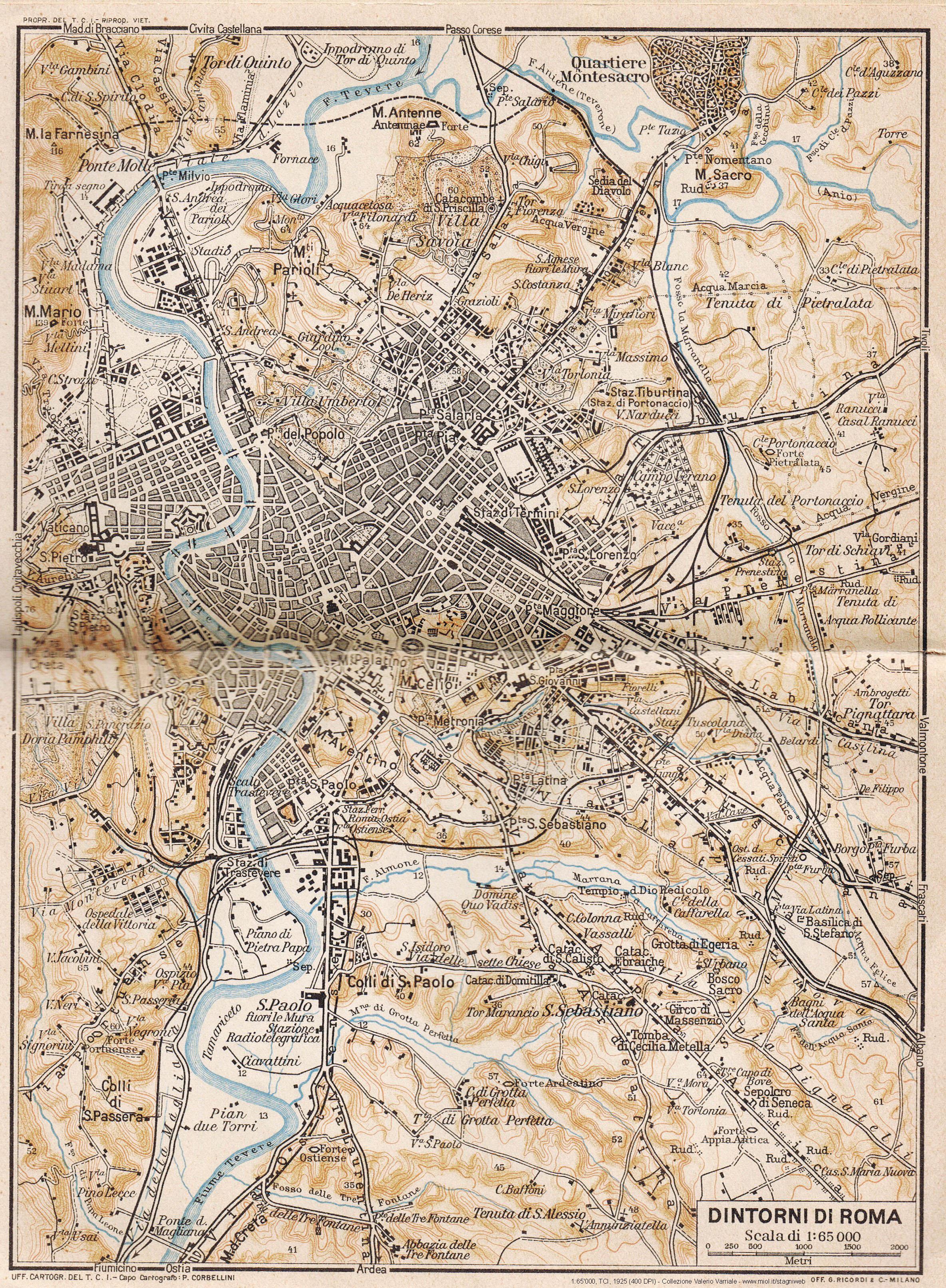 Cartina Roma Ciampino.Mappe Storiche Di Roma Guida Rossa Tci 1925 Prima Edizione 10 Stagniweb