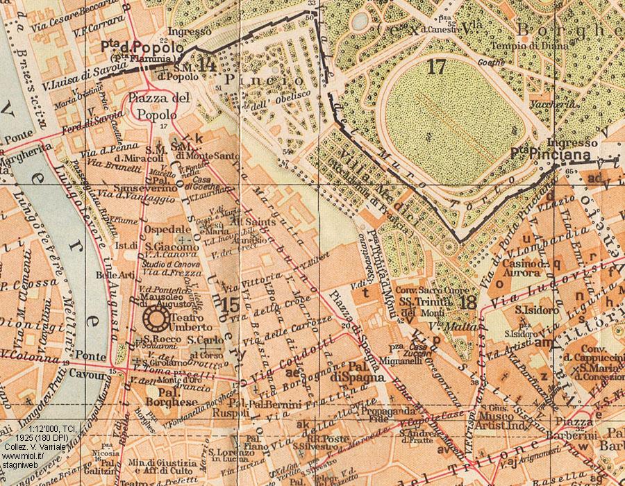 Piazza Di Spagna Cartina.Mappe Storiche Di Roma Guida Rossa Tci 1925 Prima Edizione Stagniweb