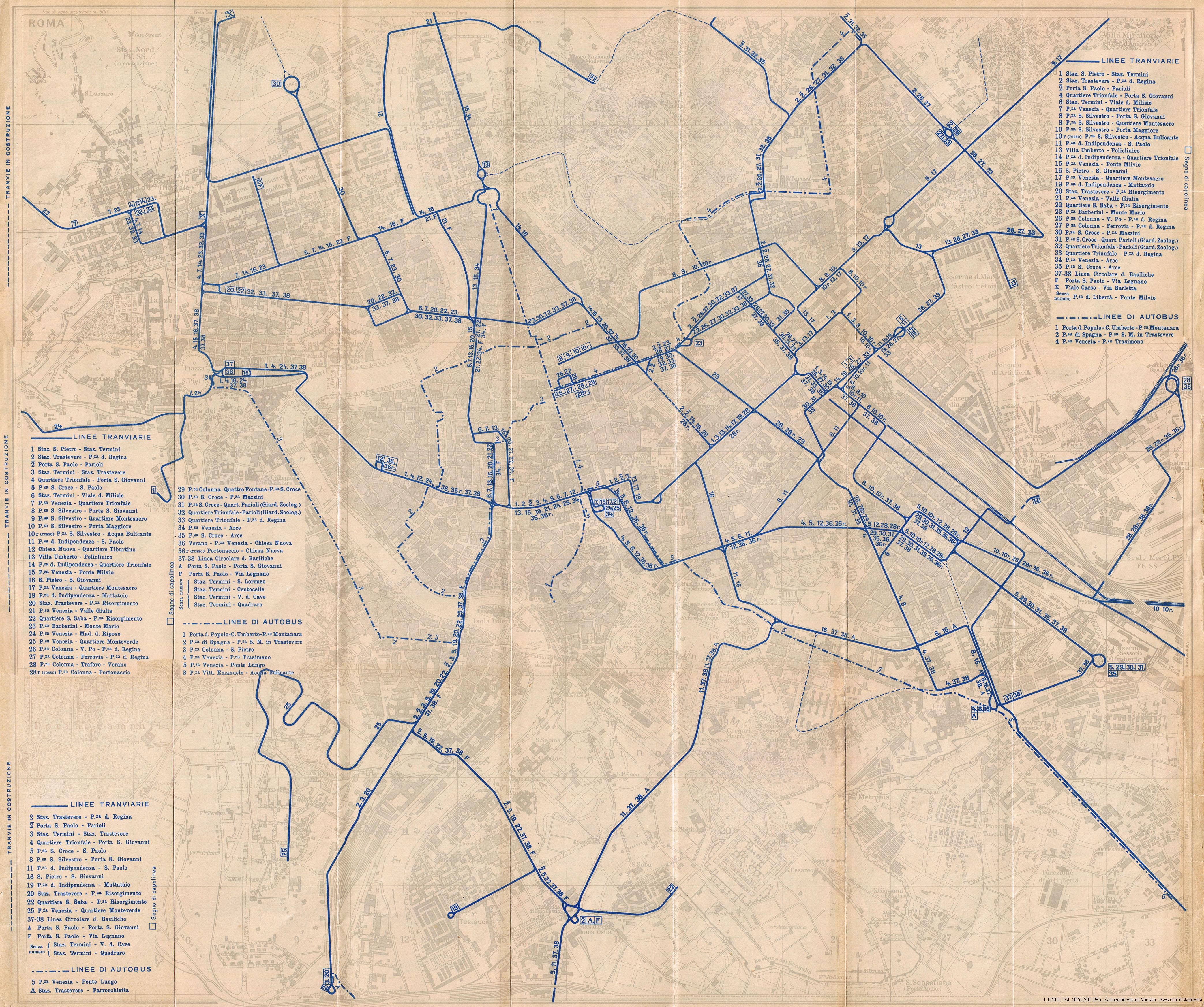 Mappe storiche di roma guida rossa tci 1925 prima for Grande planimetria della camera singola storia