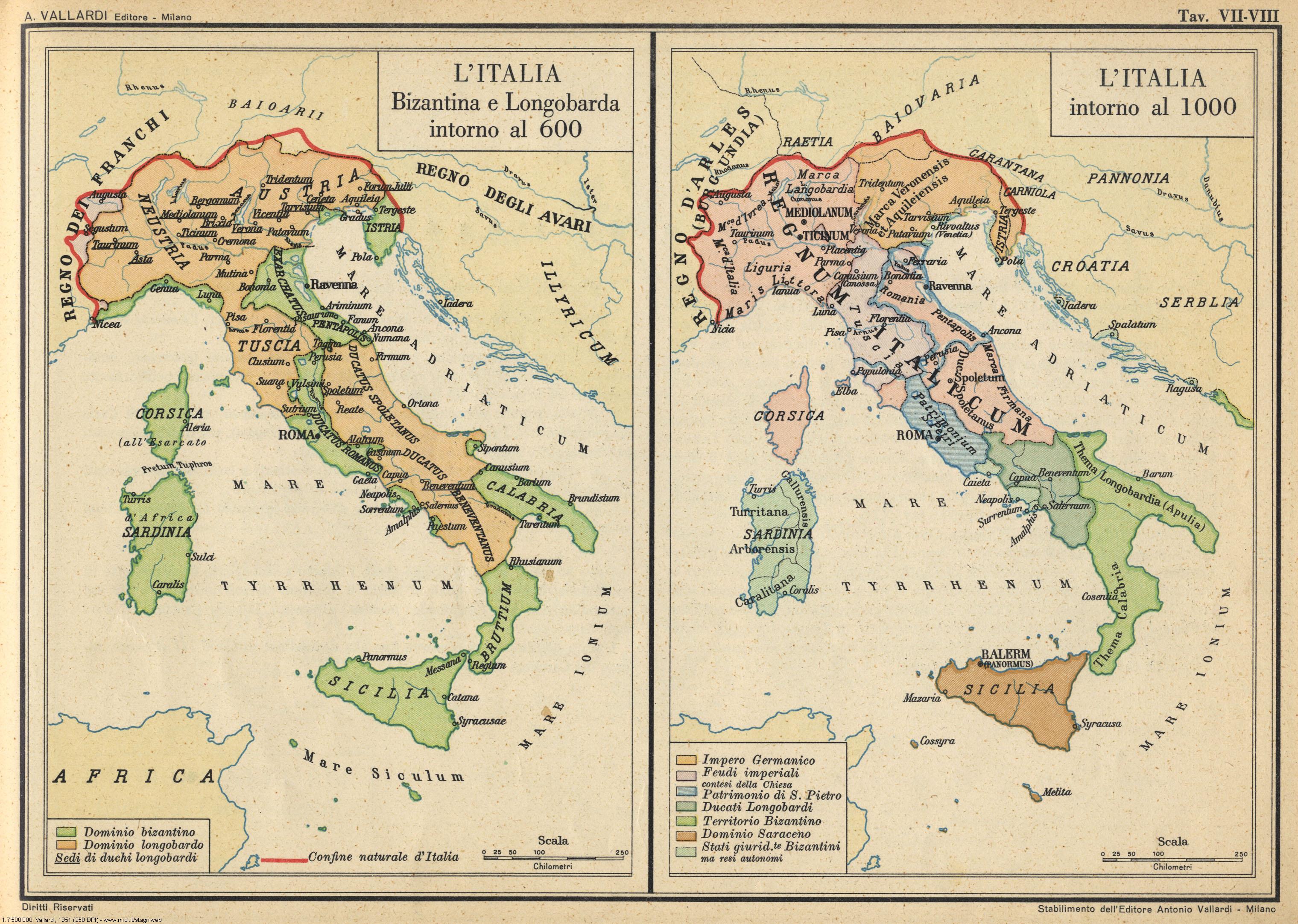 Cartina Italia 1810.Atlante Storico Vallardi 1951 Stagniweb