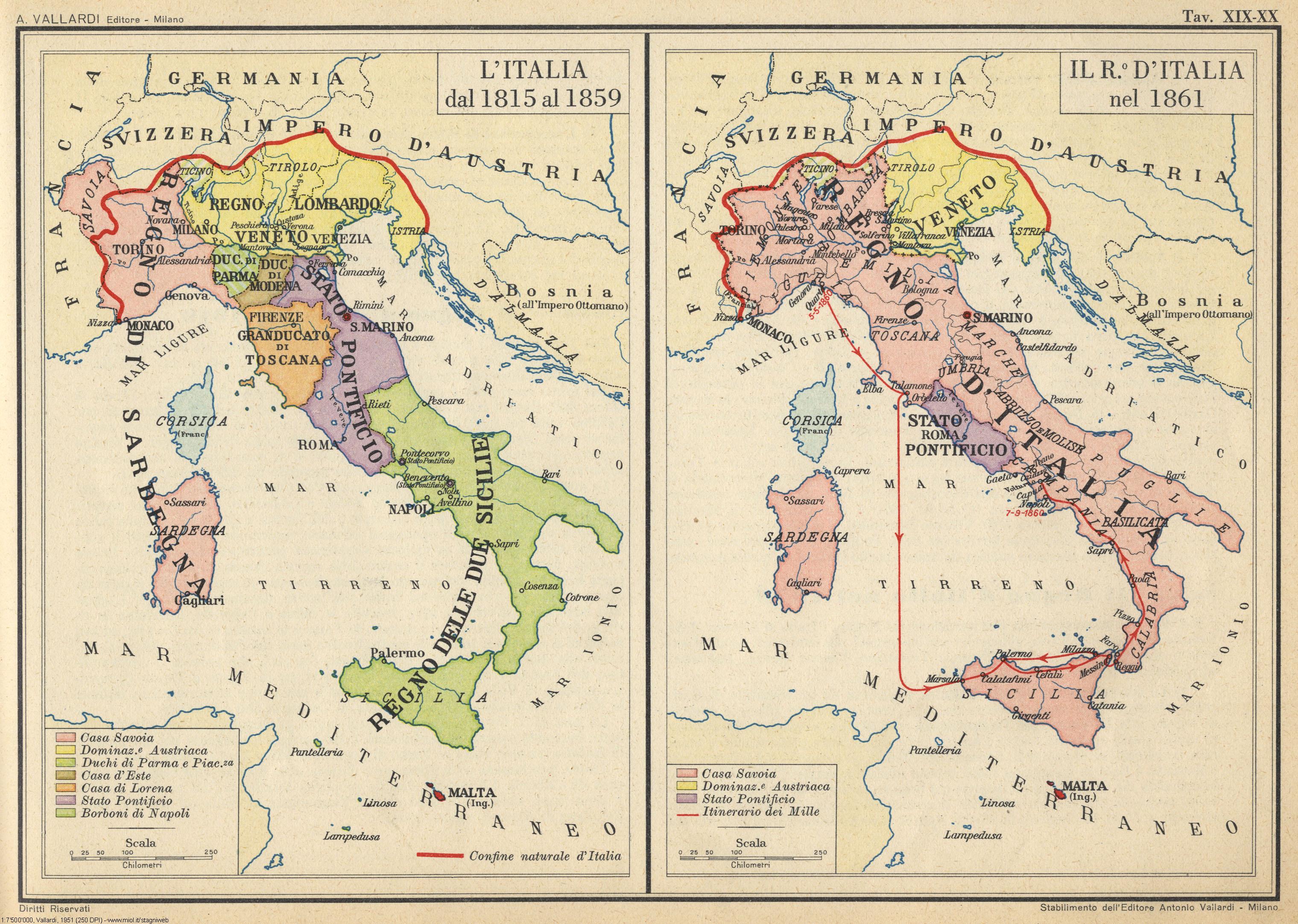 Cartina Dell Italia Nel 1815.Atlante Storico Vallardi 1951 3 Stagniweb